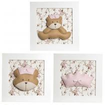 Trio De Quadros Ursa Princesa Quarto Bebê Infantil Menina - Potinho de mel