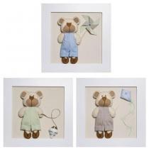 Trio De Quadros Ursinhos Com Brinquedos Quarto Bebê Infantil Menino - Potinho de mel