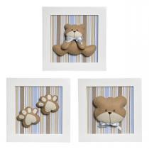 Trio De Quadros Urso Quarto Bebê Infantil Menino - Potinho de mel