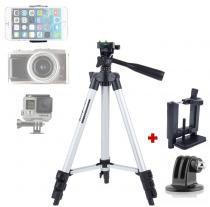 Tripé Câmera Foto Vídeo GOPRO Smartphone - TF-3110 - 1,02m - Tefeng