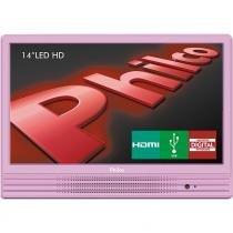 """TV LED 14"""" com Conversor Digital, Entradas HDMI e USB Philco PH14E10DR Rosa - Philco"""