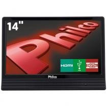 "Tv led 14"" hd philco ph14e10dled com conversor digital integrado, entrada hdmi e usb - Philco"