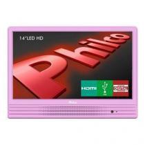 """TV LED 14"""" HD Philco PH14E10DR com Conversor Digital Integrado, Entrada HDMI e USB - Rosa - Philco eletrônico"""