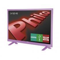 """TV Philco LED 24"""" PH24E30DR, HDMI, USB, Conversor Digital - Rosa -"""