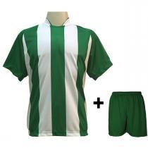 034474aae8 Uniforme Esportivo com 12 camisas modelo Milan Verde Branco + 12 calções  modelo Madrid +
