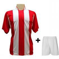 9762f3721b Uniforme Esportivo com 12 camisas modelo Milan Vermelho Branco + 12 calções  modelo Madrid +