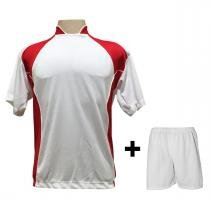 Uniforme Esportivo com 14 camisas modelo Suécia Branco Vermelho + 14 calções  modelo Madrid + ab7de6c4b5b35