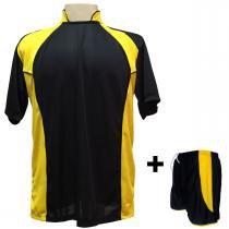 c543913422 Uniforme Esportivo com 14 camisas modelo Suécia Preto Amarelo + 14 calções  modelo Copa Preto