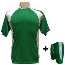 ef37206d98 Uniforme Esportivo com 14 camisas modelo Suécia Verde Branco + 14 calções  modelo Copa +