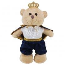 Urso Soft Grande em Pé Capa Marinho com Coroa - Mury Baby