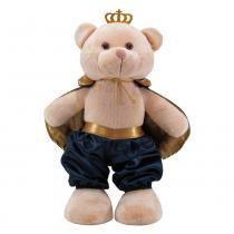 Urso Soft Grande Príncipe Capa Cetim Marinho e Dourado com Coroa - Mury Baby