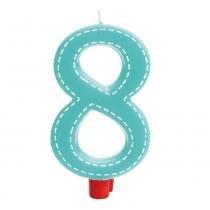 Vela Grande Tracejada N8 Azul Turquesa Decoração Festas - Cromus