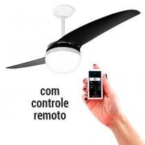 Ventilador de Teto Spirit 202 Black Piano Lustre Globo com Controle Remoto -