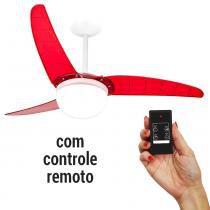 Ventilador de Teto Spirit 302 Vermelho Lustre Globo com Controle Remoto -