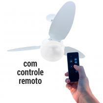 Ventilador De Teto Zenys Pali com Lustre Globo 3 Pás Pétalas Branco com Controle Remoto - Spirit