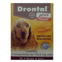 Vermifugo drontal plus para caes sabor carne 10kg (4 comprimidos) - bayer -