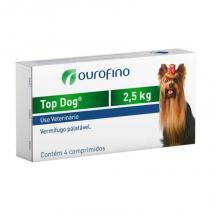 Vermifugo top dog cães 2,5kg (4 comprimidos) - ourofino -