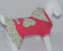 Vestido Moleton com Capuz Melancia Pink - Bonito pra Cachorro - bonito pra cachorro