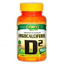 Vitamina D2 Ergocalciferol (500mg) 60 Cápsulas Vegetarianas - Unilife -