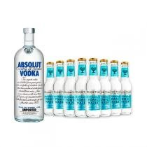 Vodka Absolut Original 1l e 8x Fever-Tree Premium Mediterranean Tonic Water 200ml -