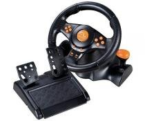 Volante C/Pedal e Marcha Multilaser Racer Wireless 3x1 PS2/PS3/PC Preto -