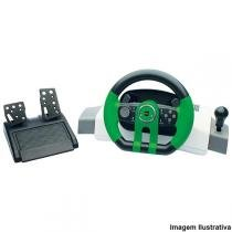 Volante Turbo GT com Force Feedback Branco/Verde 622132 - Dazz - Dazz
