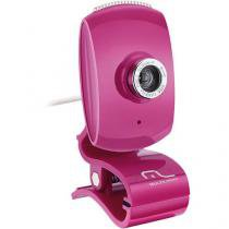 Webcam 16MP USB com Microfone Botão Snapshot Facelook Rosa Piano Multilaser WC048 -