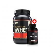 Whey Gold Standard Protein 100 (909g) Optimum Nutrition + Creatina Powder (150g) Optimum Nutrition - Doce de Leite -