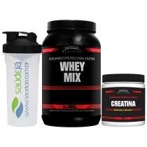 Whey Mix 900G + Creatina 300G + Coqueteleira Transparente - Nitech Nutrition - Morango - Nitech Nutrition