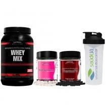 Whey Mix Nitech Chocolate + Thermofit Nitech + Colágeno Care Nitech + Coqueteleira Transparente E Preta Saúdejá - Nitech Nutrition