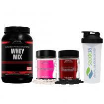 Whey Mix Nitech Morango + Thermofit Nitech + Colágeno Care Nitech + Coqueteleira Transparente E Preta Saúdejá - Nitech Nutrition