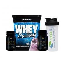 Whey Protein - 500G - Morango - Atlhetica + Zma Golden + Bcaa Golden + Coqueteleira Transparente E Preta Saúdejá - Atlhetica
