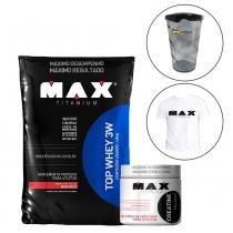 Whey protein top 3w 1,8kg morango +  creatina 150g + shakeira 700ml + camiseta - Max titanium