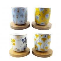 Xícara de café color floral 4 peças 100 ml - 27841 - Casambiente