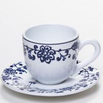 Xicara de Café com Pires em Cerâmica La Chinoise - 6 Unid - Soul home