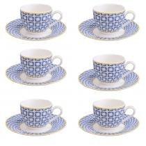 Xícara de Café Noblesse Geometric Porcelana 100ML 6 Peças - 30117 -