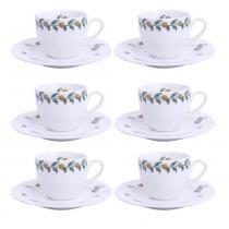 Xícara de Café Noblesse Peaches Porcelana 100ML 6 Peças - 30118 -