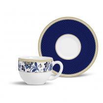 Xícara de chá flat classic porto brasil cerâmica azul 197ml -