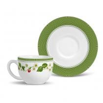 Xícara de chá flat fraise porto brasil cerâmica verde 197ml -