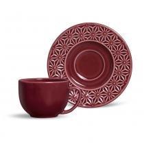 Xícara de chá manish porto brasil cerâmica vinho197ml -