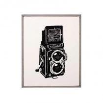 Xilogravura máquina fotográfica - Preto - Xilo shirt