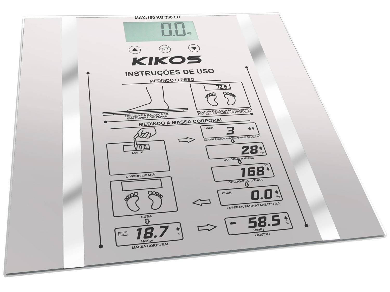 Balança Digital 150kg com Medidor de Gordura Medição de Água  #55766B 1500x1125 Balança Digital De Banheiro Até 150kg