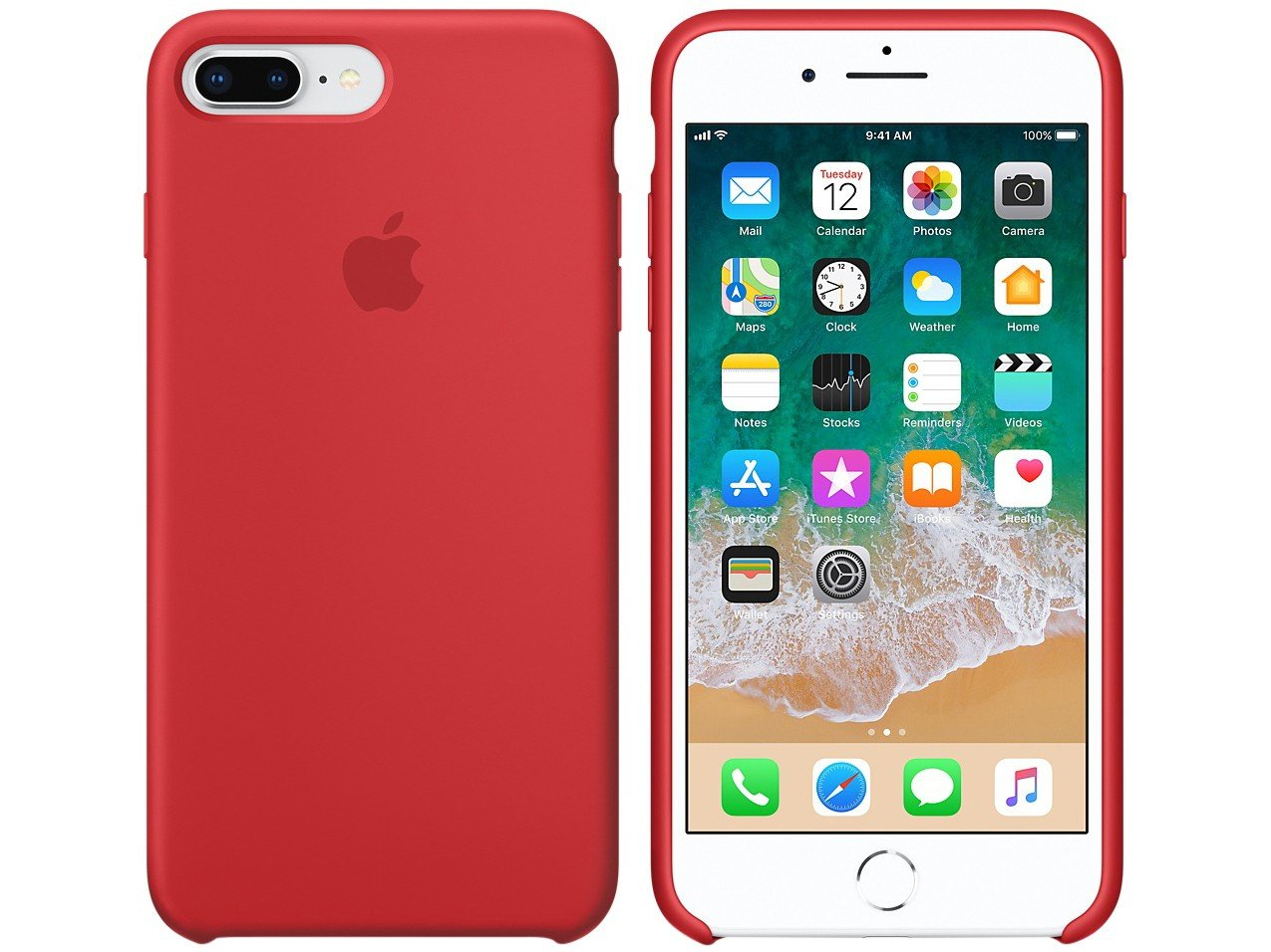 1e802a1bd Capa Protetora Silicone para iPhone 7 Plus e - iPhone 8 Plus Apple Product ( RED) MQH12ZM A