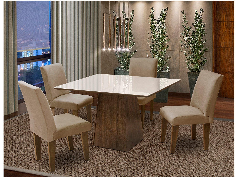 75fed967a Conjunto de Mesa com 4 Cadeiras Estofadas Dobuê Movelaria Florença ...