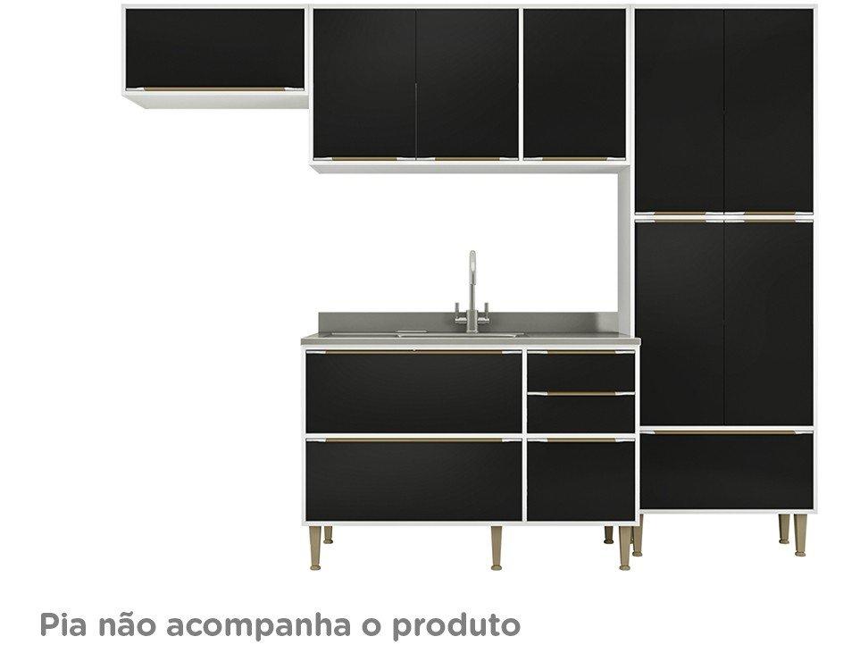 8aed64be0c0 Cozinha Compacta Multimóveis Paris com Balcão 11 Portas 3 Gavetas ...