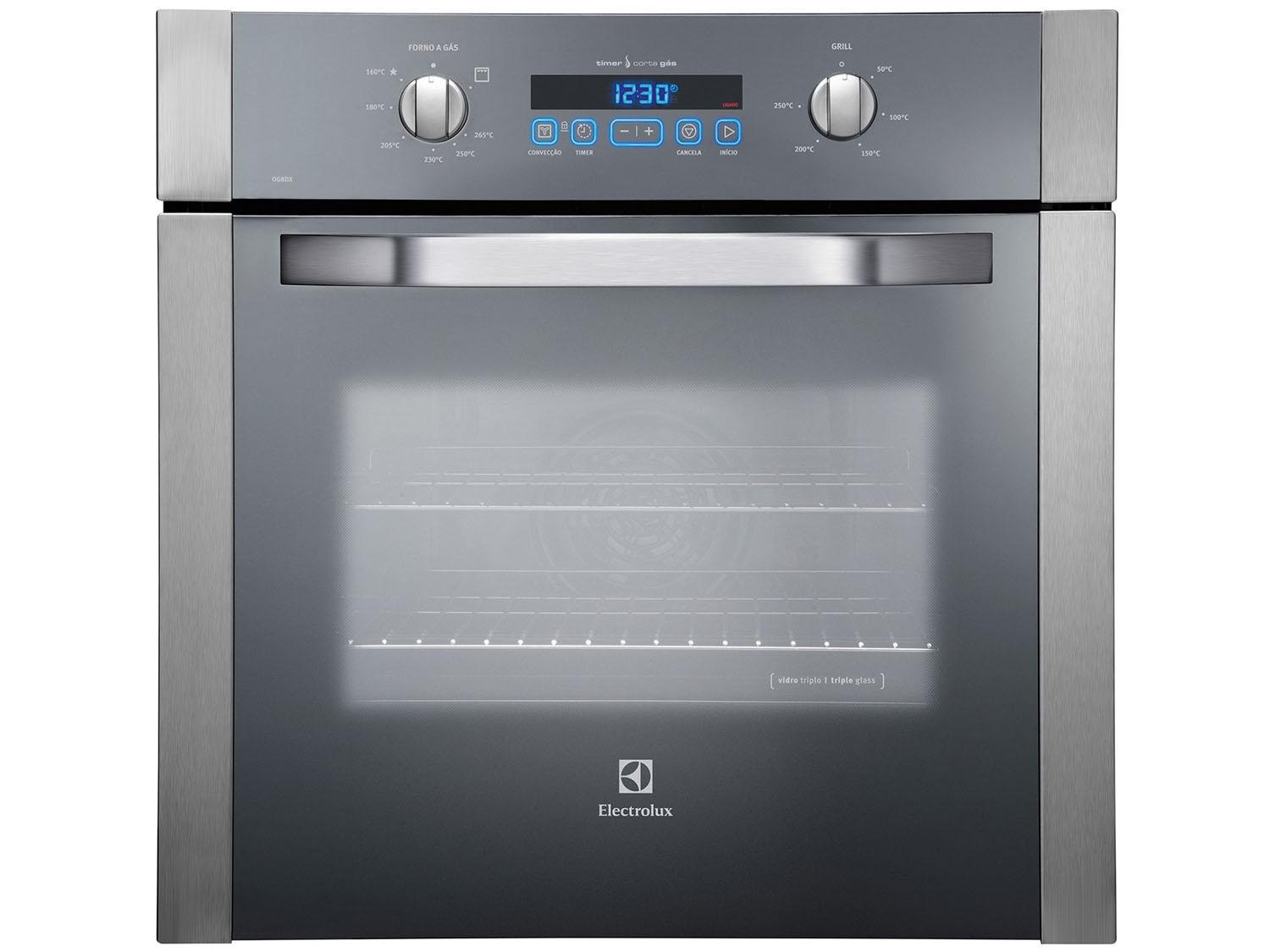 Forno de embutir a g s electrolux og8dx inox 73l grill for Forno a gas