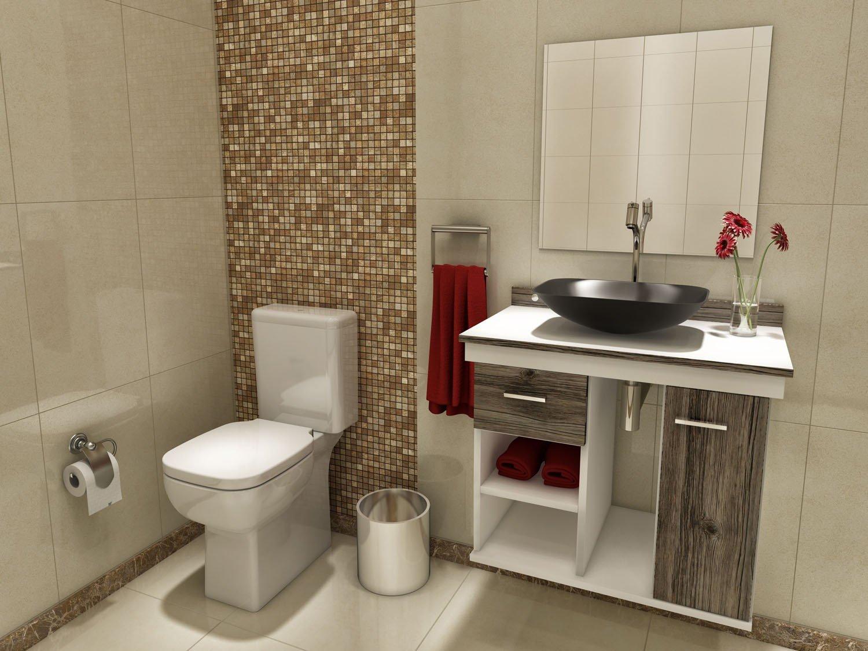 Gabinete para Banheiro com Cuba e Espelho 1 Porta 1 Gaveta VTec  #96353B 1500x1125 Armario Vertical Banheiro