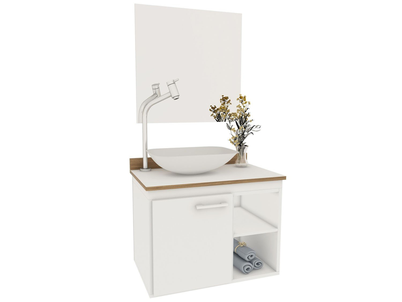 Gabinete para Banheiro com Cuba e Espelho 1 Porta VTec Kit Atik  #634C33 1500x1126 Armario Vertical Banheiro