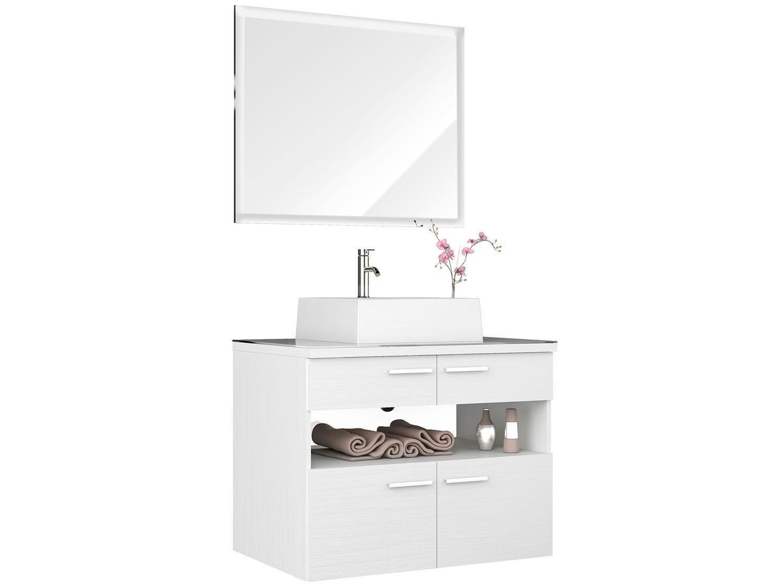 Gabinete para Banheiro com Cuba e Espelho 2 Portas 2 Gavetas Móveis  #86455B 1500 1125