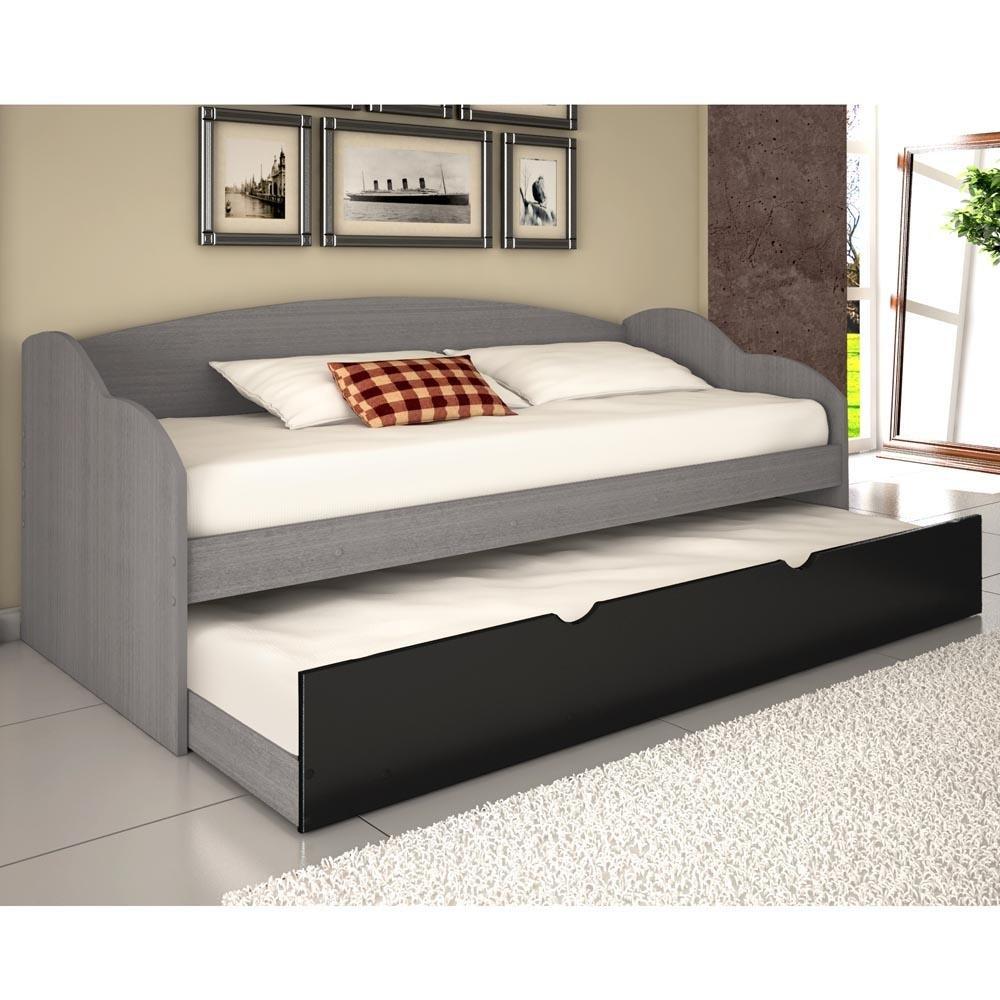 Sof cama funny cinza preto cinza preto conquista for Sofas que se hacen cama